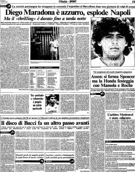 Napels krant bij komst Maradona