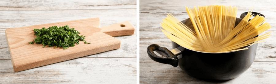 spaghetti in de pan