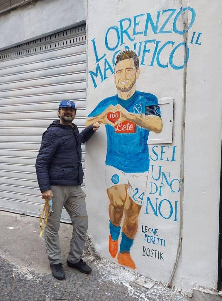één van de nieuwste werken van Leone Peretti, een schildering van Lorenzo Insigne