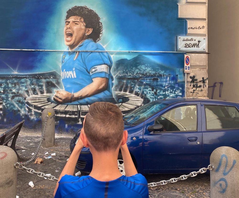 maradona muurschildering tijdens maradona tour in napels